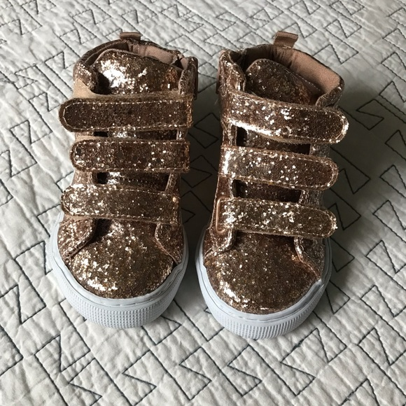 BABY GAP GIRL Glitter Gold Hi-Top Sneakers shoes NWT 7